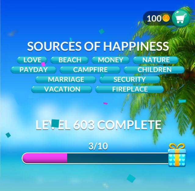 Word Stacks Level 603 Sources of happiness Answers