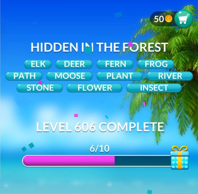 Word Stacks Level 606 Hidden in the forest Answers