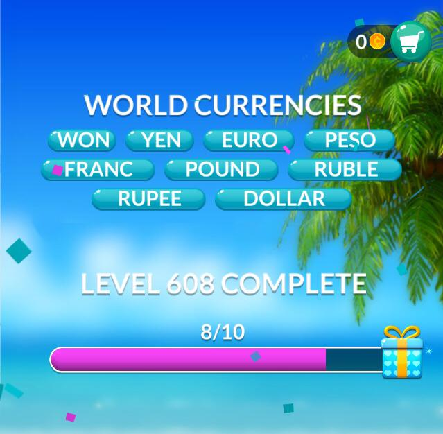 Word Stacks Level 608 World Currencies Answers