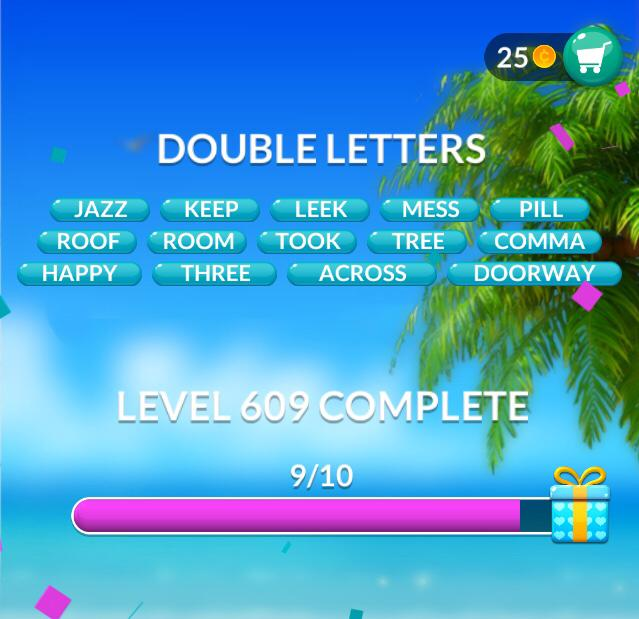 Word Stacks Level 609 Double letters Answers