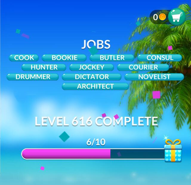 Word Stacks Level 616 Jobs Answers