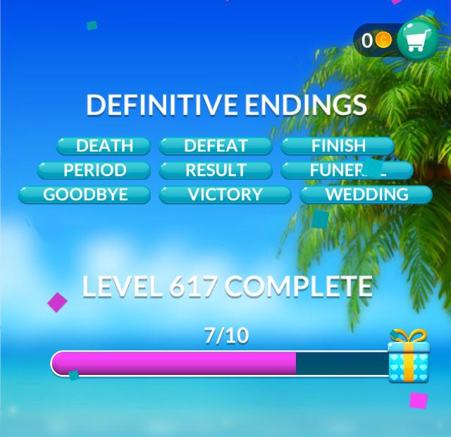 Word Stacks Level 617 Definitive endings Answers