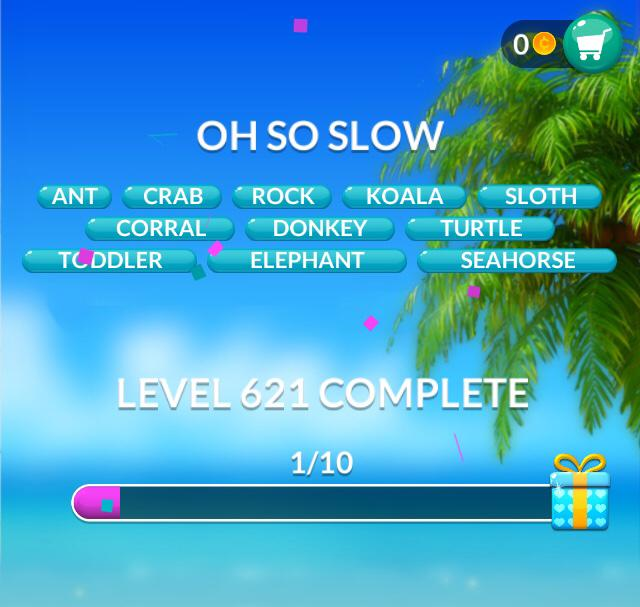 Word Stacks Level 621 Oh so slow Answers