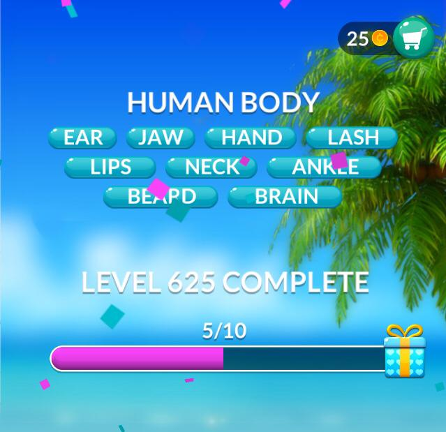 Word Stacks Level 625 Human Body Answers