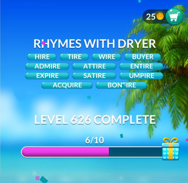 Word Stacks Level 626 Rhymes with dryer Answers