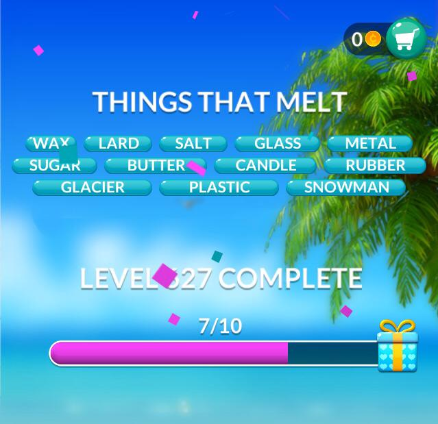 Word Stacks Level 627 Things that melt Answers