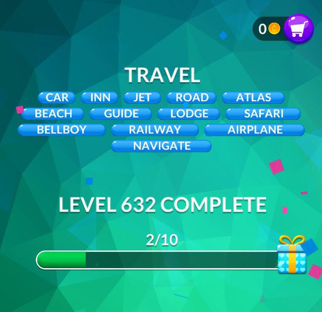 Word Stacks Level 632 Travel Answers