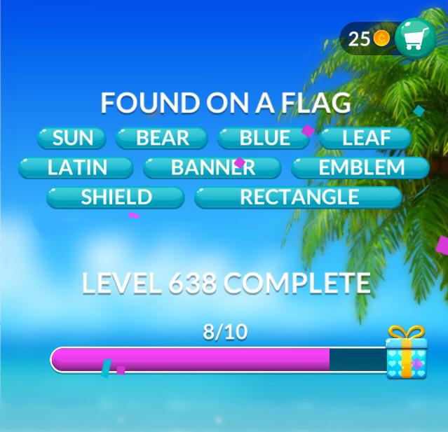 Word Stacks Level 638 Found on a flag Answers