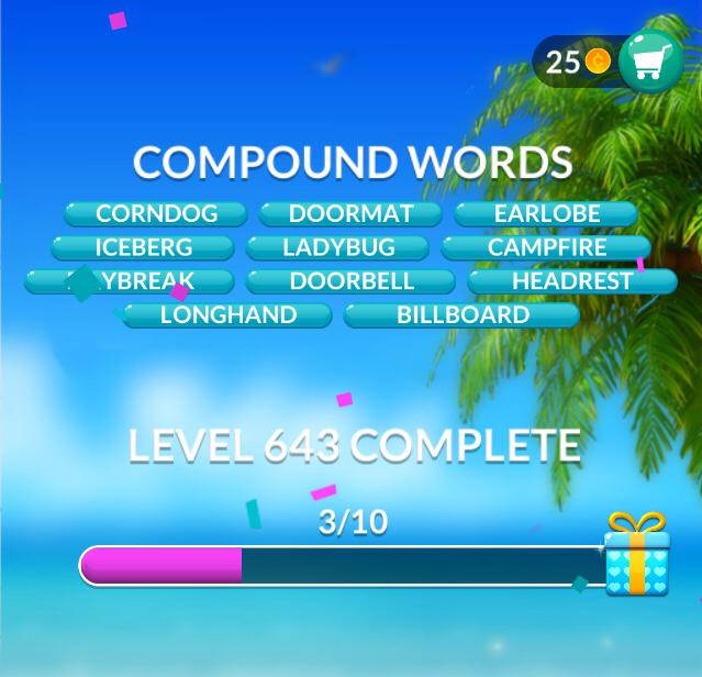 Word Stacks Level 643 Compound Words Answers