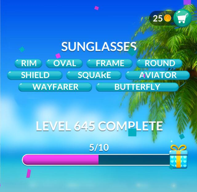 Word Stacks Level 645 Sunglasses Answers