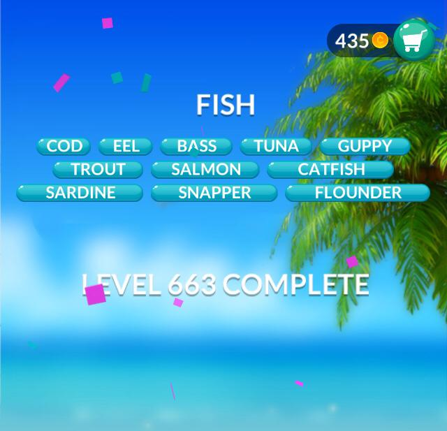 Word Stacks Level 663 Fish Answers
