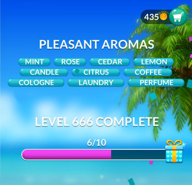 Word Stacks Level 666 Pleasant aromas Answers