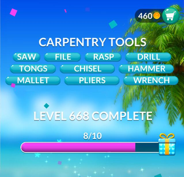Word Stacks Level 668 Carpentry tools Answers