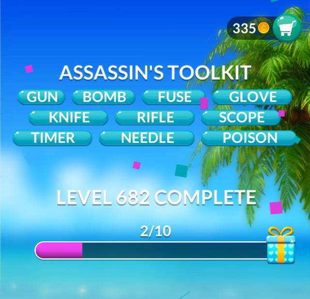 Word Stacks Level 682 Assassin's toolkit Answers