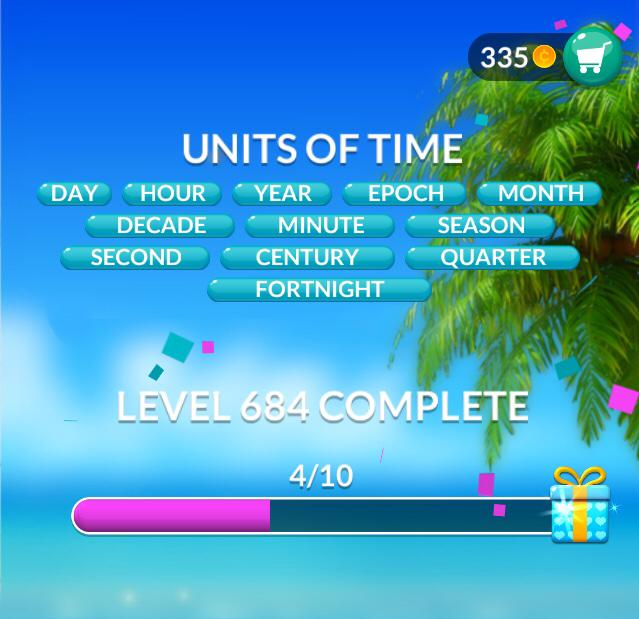 Word Stacks Level 684 Units of time Answers