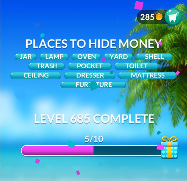 Word Stacks Level 685 Places to hide money Answers