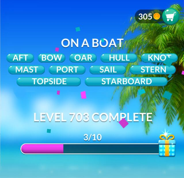 Word Stacks Level 703 On a boat Answers