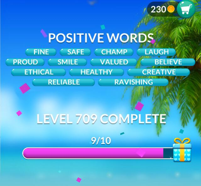 Word Stacks Level 709 Positive words Answers
