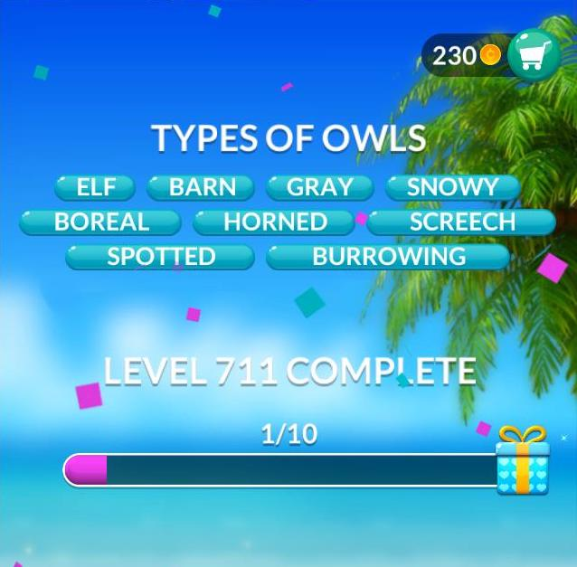Word Stacks Level 711 Types of owls Answers