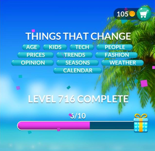 Word Stacks Level 716 Things that change Answers