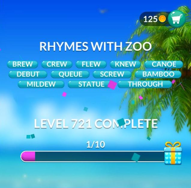 Word Stacks Level 721 Rhymes with zoo Answers