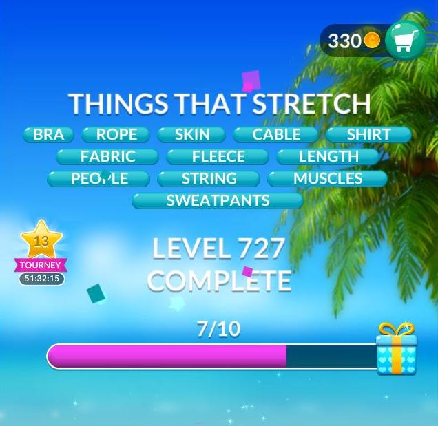 Word Stacks Level 727 Things that stretch Answers