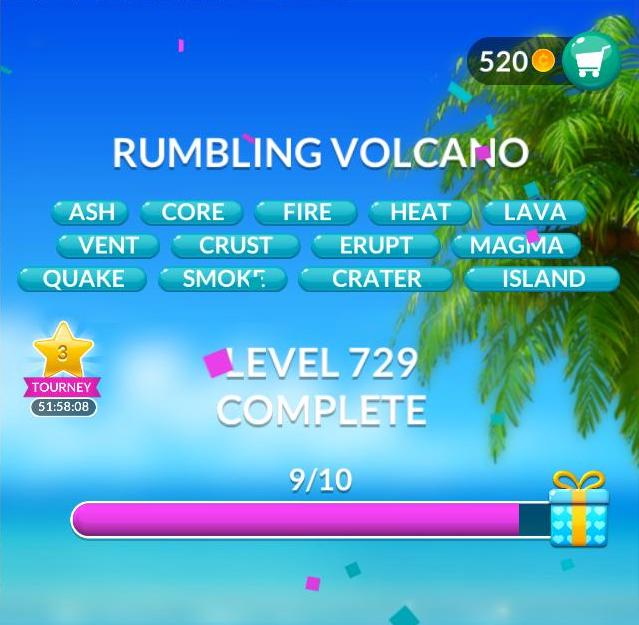 Word Stacks Level 729 Rumbling volcano Answers
