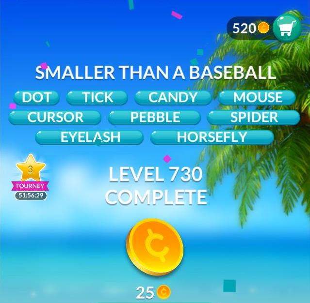 Word Stacks Level 730 Smaller than a baseball Answers