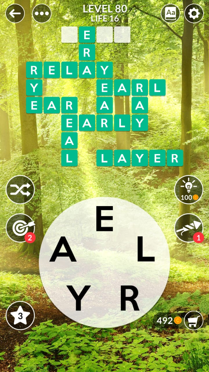 Wordscapes Level 80 (Life 16 Forest) Answers and Solutions ...