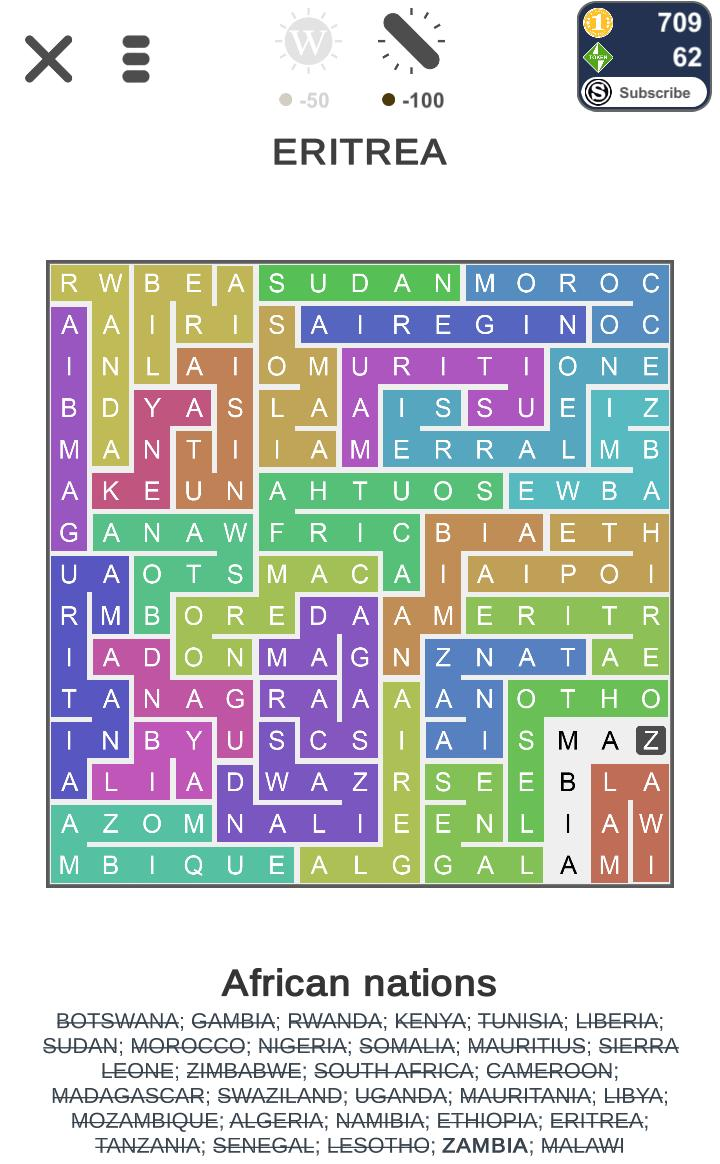 Puzzle Page Word Snake African Nations Qunb