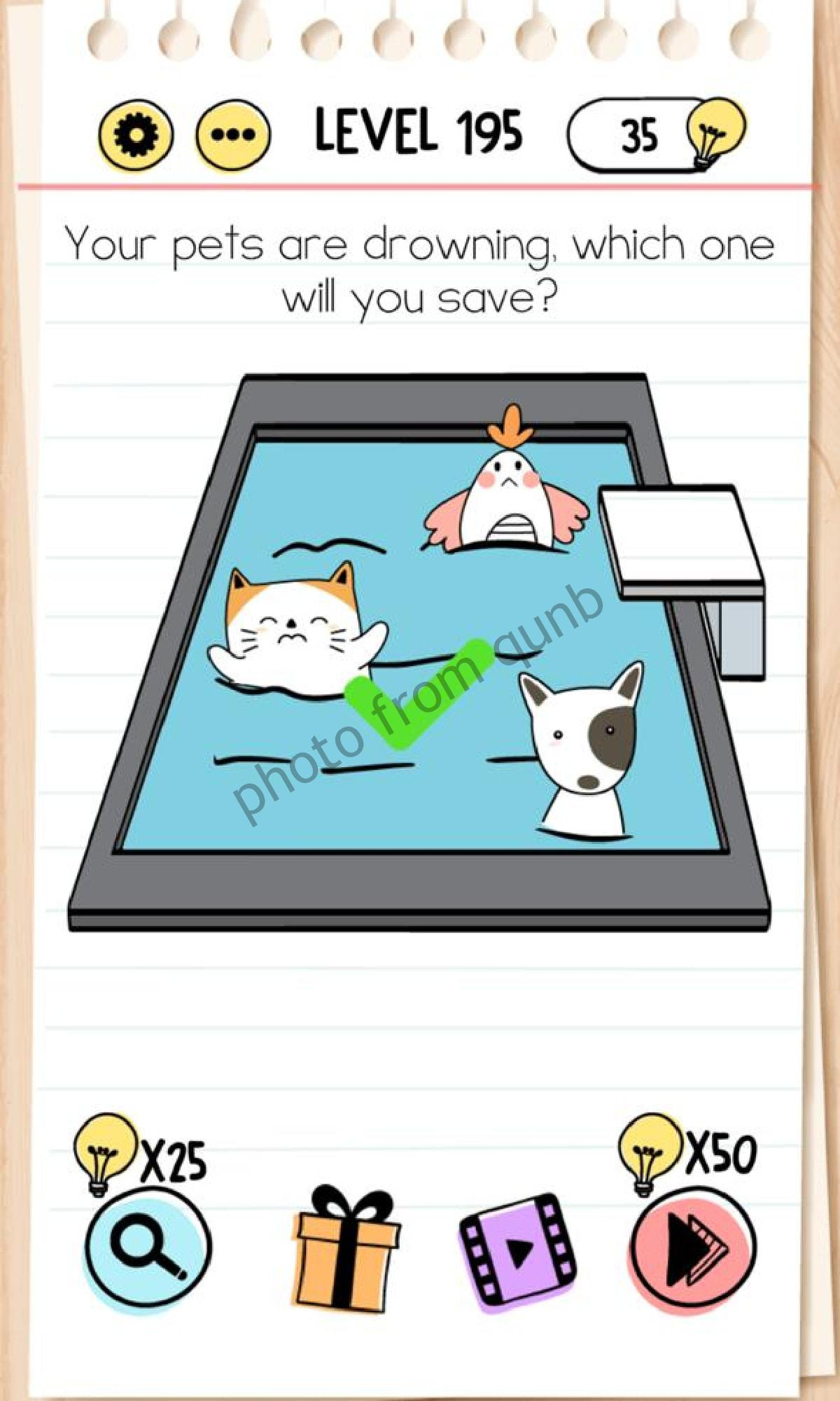 Brain Test Level 195 Your Pets Are Drowning Which One Will You Save Answers Solutions Qunb