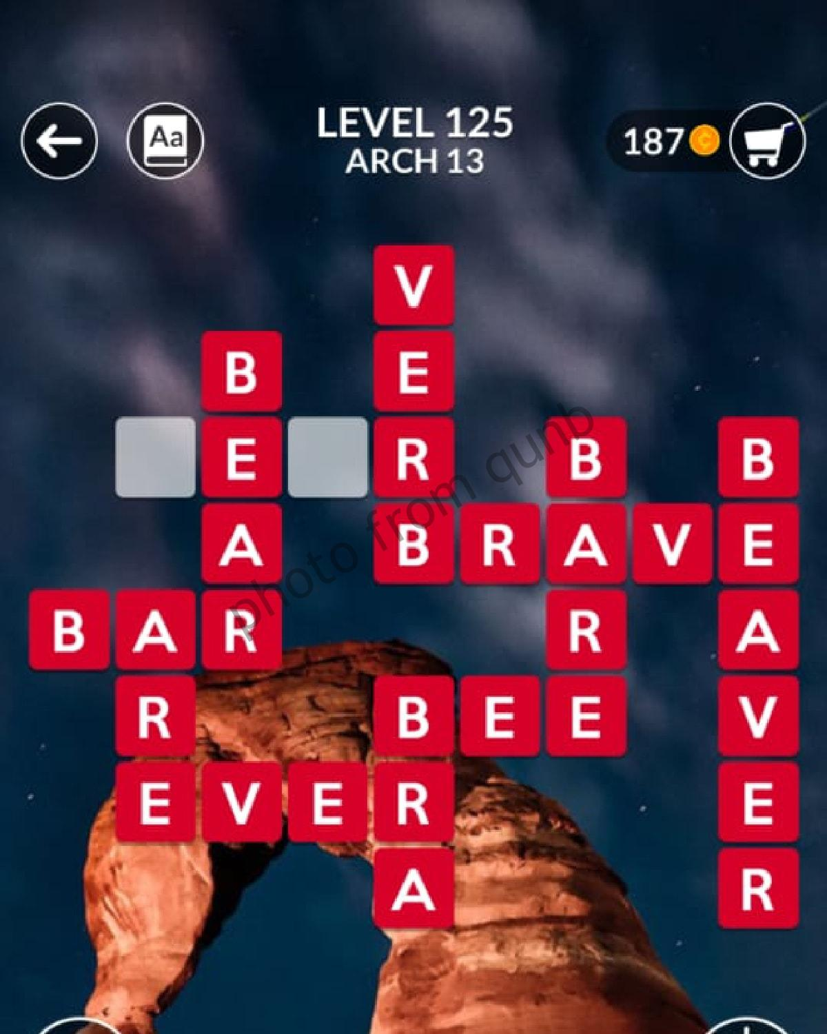 Wordscapes Level 125 Arch 13 Answers Qunb
