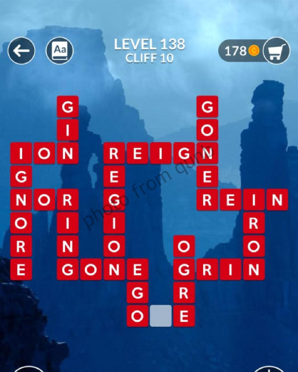 Wordscapes Level 138 Cliff 10 Answers Qunb